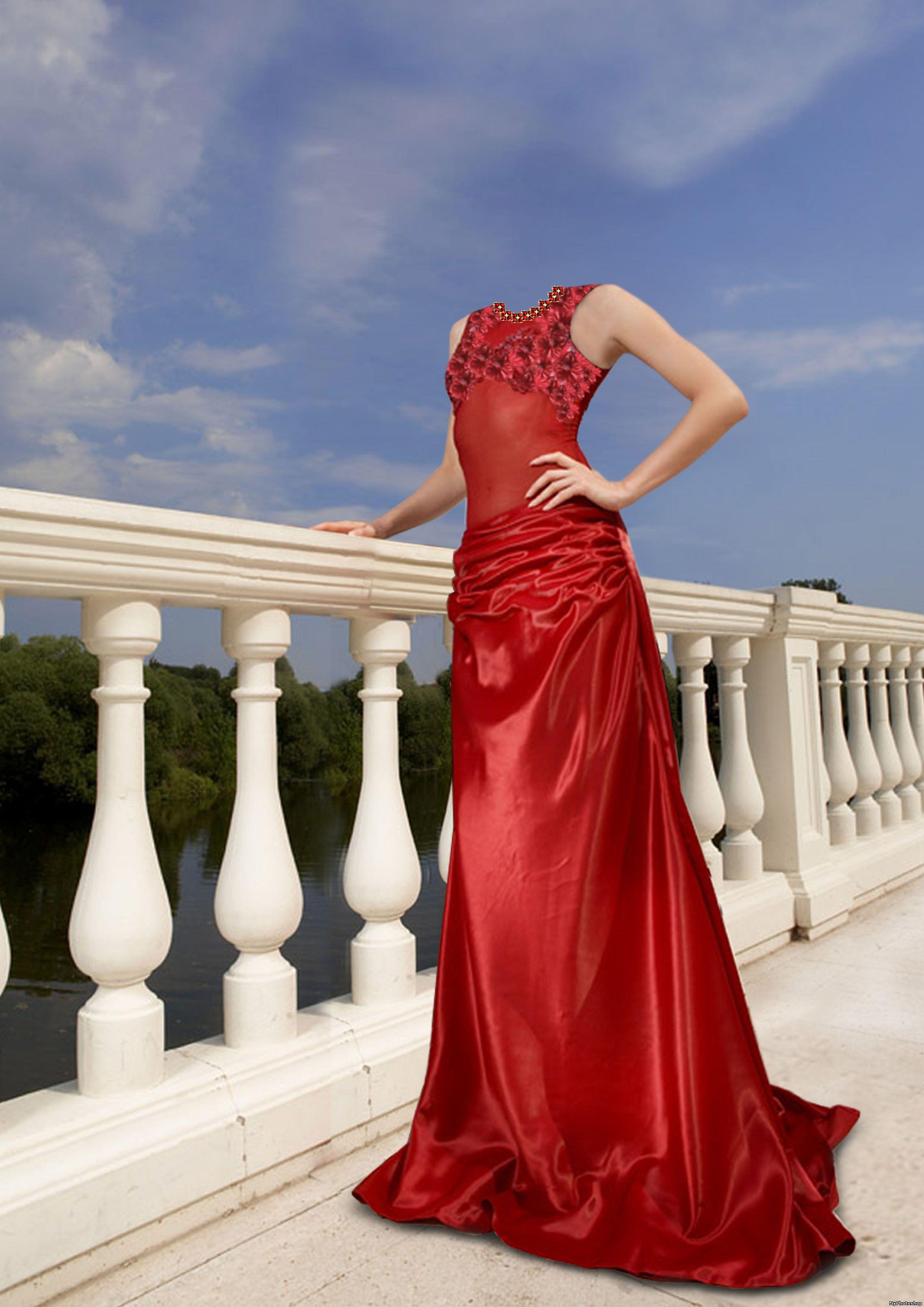 Девушка в красном платье psd 2480x3508 10MB.  Dimon.  Шаблоны для Photoshop.